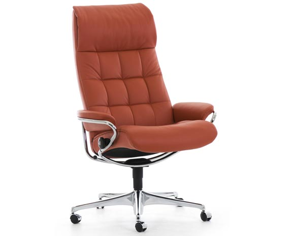 Stressless London Office dossier haut, fauteuil de bureau inclinable vintage 60's avec matelassage.