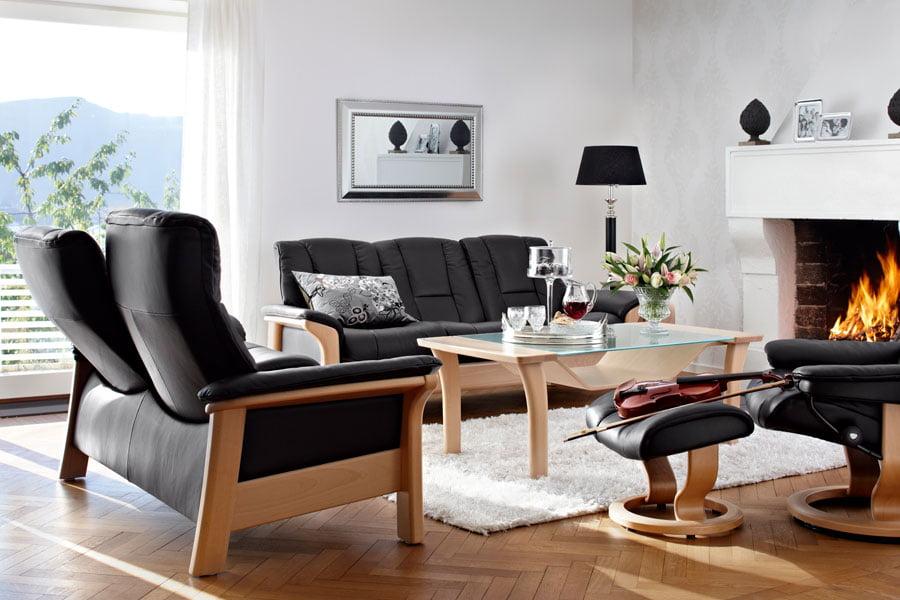 Leather sofas stressless buckingham highback modern - Salon marocain avec dossier ...