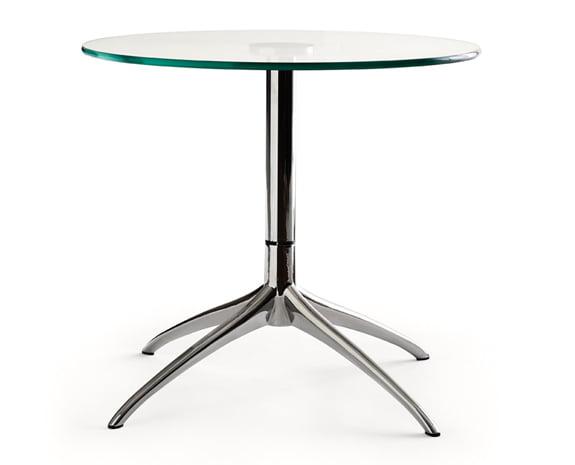 Table Avec Plateau En Verre Rond Et Pied En Métal (inox), Stressless Urban